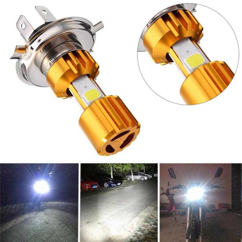 H4 LED 3 COB Motorcycle Headlight Lamp Bulb 6000K Hi/Lo Beam Light White 18W Useful