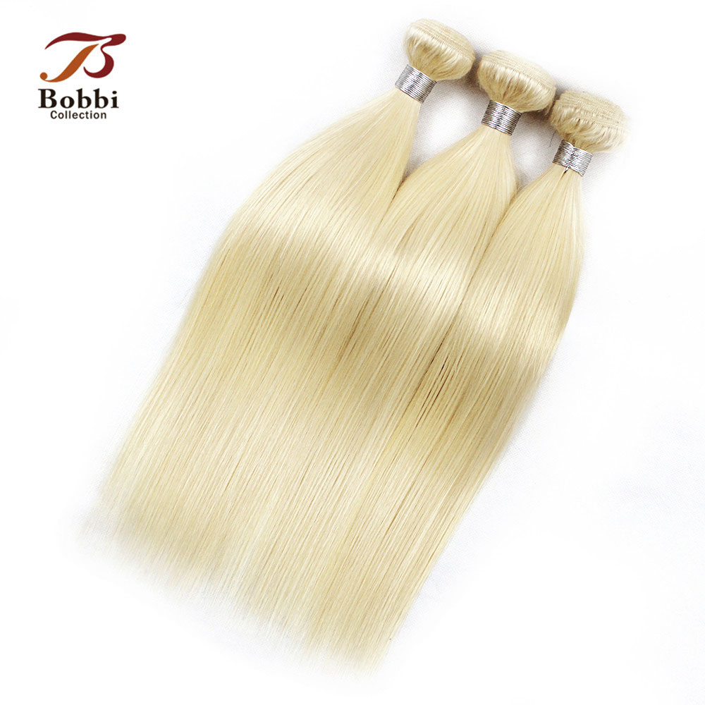 3 Bundles Peruvian Straight Hair Extension Color 613 Bleach Blonde Remy Human Hair Weave Bundles Bobbi Collection