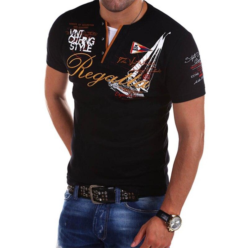 ZOGAA 2019 Mens Polo Shirt Fashion Short Sleeve Printed Polo Shirt Casual Letter Anti-shrink Streetwear Slim Shirts Tops For Men
