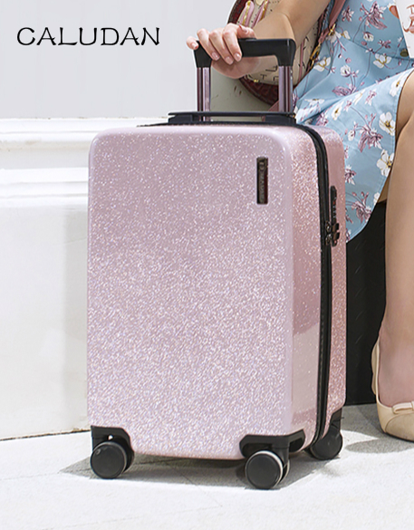 20''24''Zipper Glittering Luggage Surface, PC Shell & Metal Drawbar Rolling Luggage Bag Trolley Case Travel Suitcase Wheels