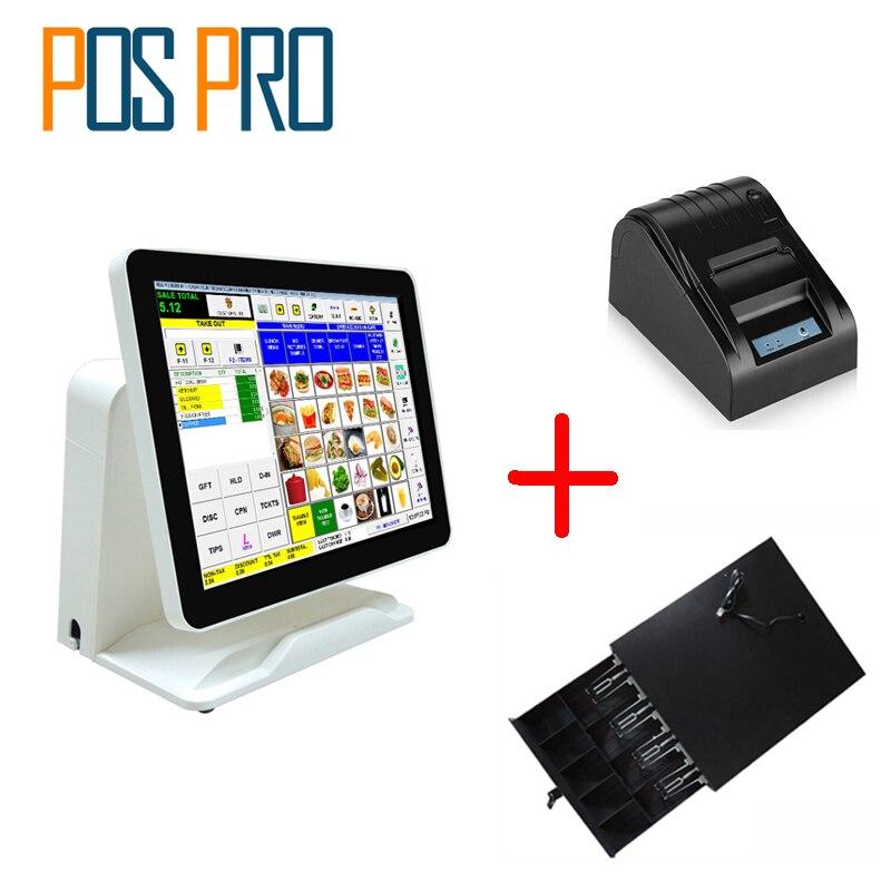 IZP010 емкостный Сенсорный экран все в одном POS + Термальность принтер + денежный ящик для ресторана/супермаркет/напиток/ молоко/Чай магазин