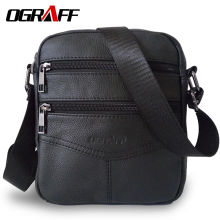 OGRAFF Men messenger bags luxury genuine leather men bag designer high quality shoulder casual zipper office for