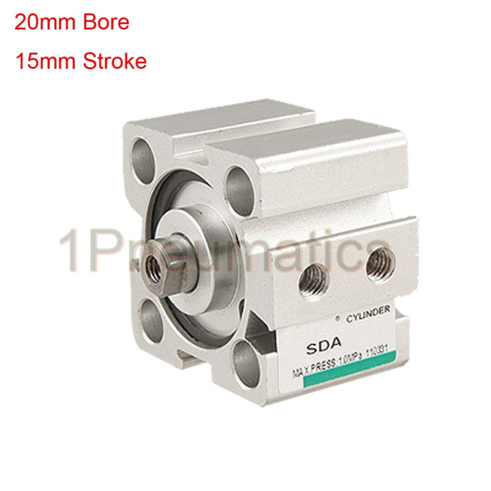 Free Shipping 2PCS/LOT 20mm Bore 15mm Stroke Double Action Thin Pneumatic Air Cylinder SDA20-15 free shipping 2pcs lot sda 12 20 m5 0 8 port 12mm bore 20mm stroke double action airtac type pneumatic compact air cylinder