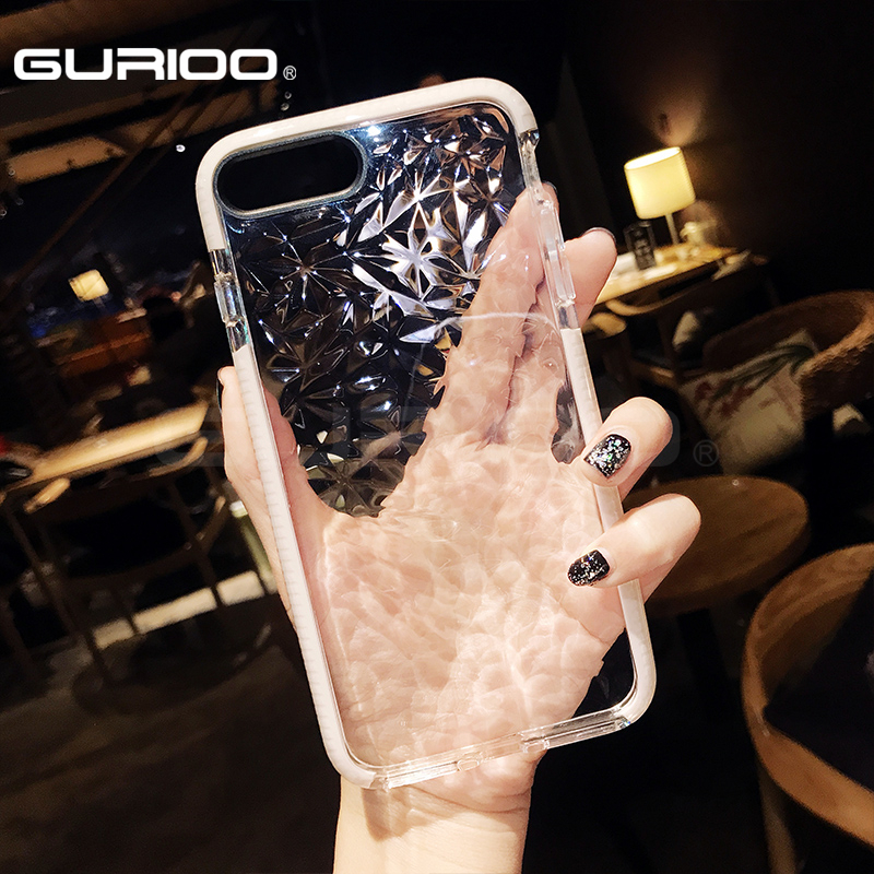 GURIOO 3D Diamond Clear Case For iPhone 7 6 6S 8 Plus X Soft Shockproof TPU Crystal Clear Ultra-thin Shining Case For iPhone6