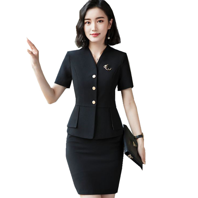 Fmasuth New Summer 2 Pcs Jacket Skirt Set Slim Waist Pocket Jacket Blazer+Black Formal S ...