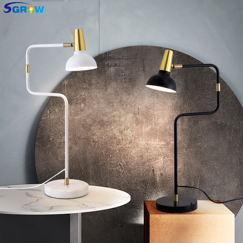 SGROW Base en marbre lampes de Table réglables luminaires pour chambre étude salle à manger bureau lumières éclairage intérieur avec ampoule E14