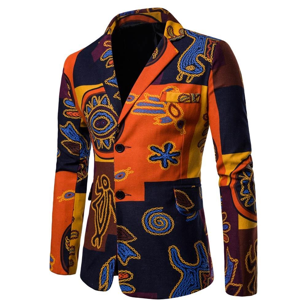 Men's Slim Fit Print Design Casual Suits Blazers