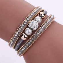 SAATLERI Women Multilayer Bangle Bracelet Crystal Beaded Leather Magnetic Wristband