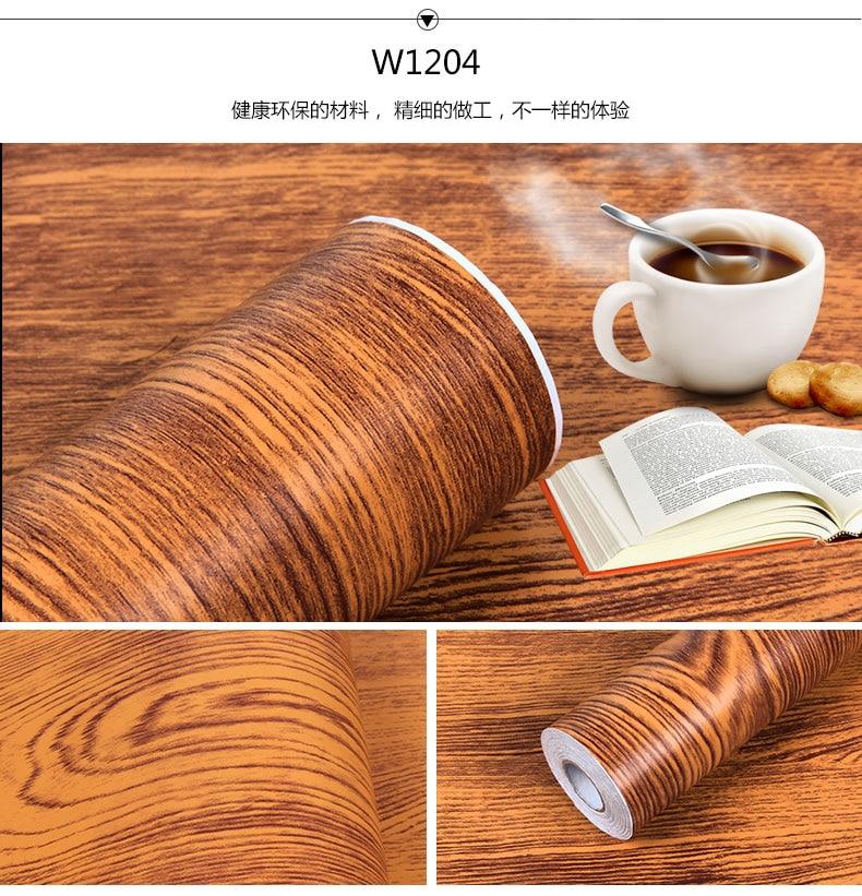 Купить с кэшбэком DIY Decorative Film Self Adhesive Wall Paper Wood Grain Black Furniture Renovation Stickers Kitchen Cabinet Waterproof Wallpaper