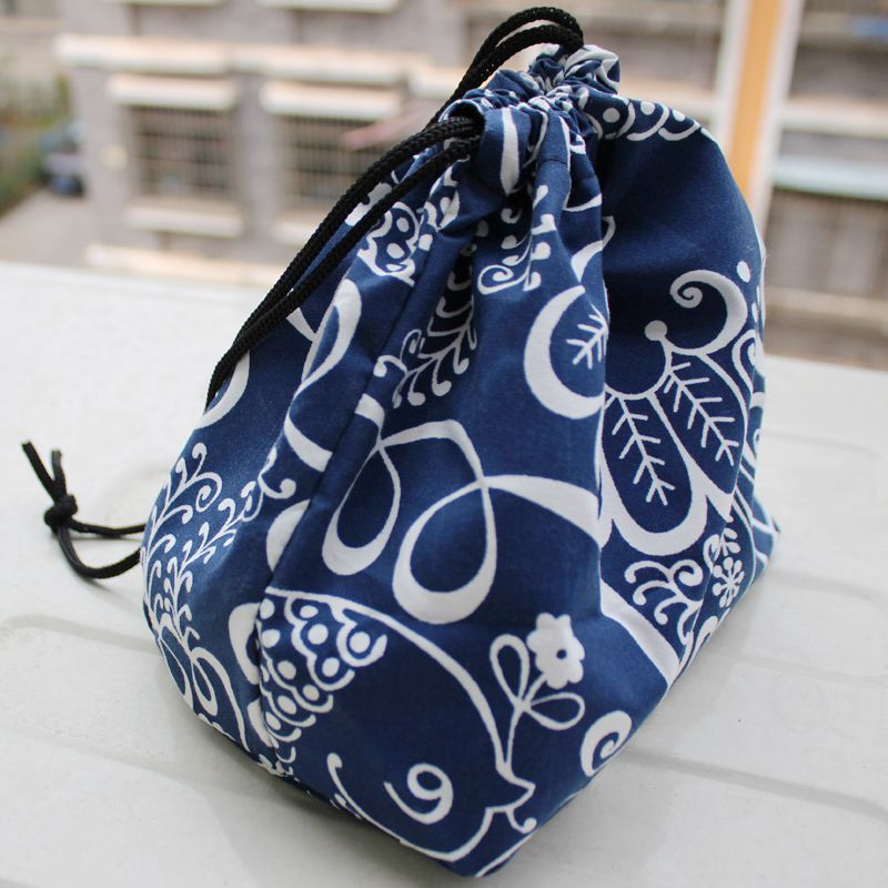 PACGOTH 2017 New Fashion Japanese Style Leisure Bag Blue Canvas Warm Keep Lunch Bags Thickening Students Strawstring Tote 1 PC