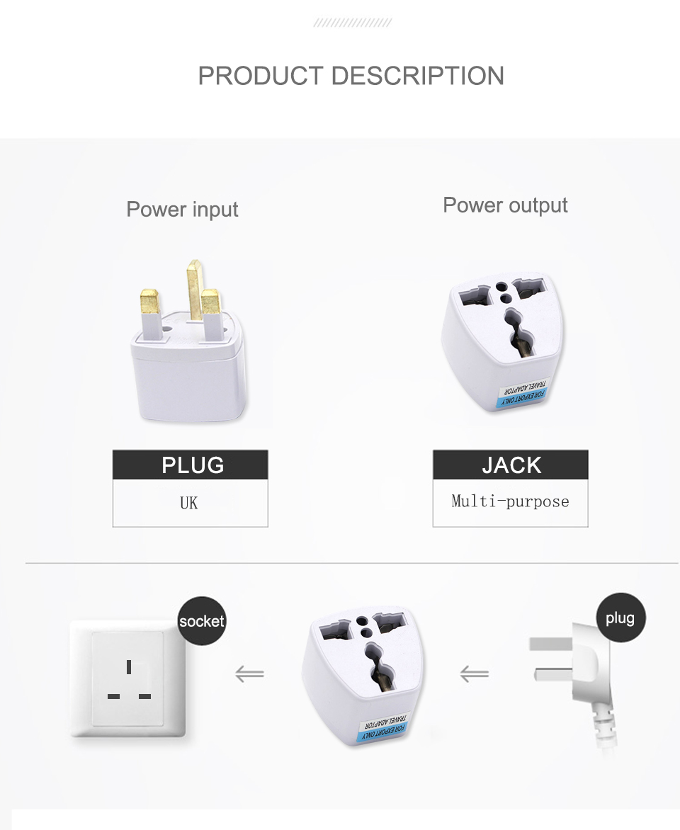 Multifunctional EU US AU to UK Plugs adapter Power Converter Plugs 2 Pin Socket EU to England Travel Charger Adapter Converter (7)