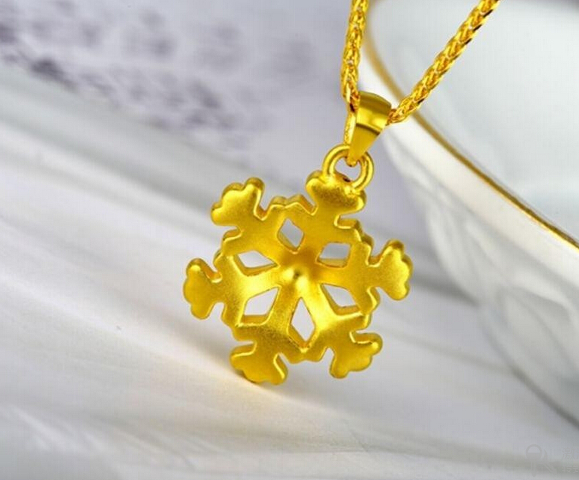 Hot sale New Authentic 24k Yellow Gold Pendant/ 3D Lucky Snow Flower Pendant 2.70G hot sale new pure 24k yellow gold pendant 3d craft lucky number 3 pendant 1 68g