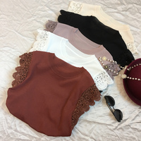 2017 Summer Hot Women Knitted Vest Exquisite Lace Cuffs Beads Beads Ice Silk Fresh Breathable Knitted