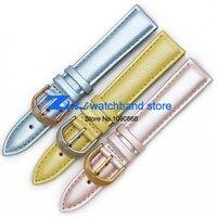 Thời trang Charm Bracelet Hồng Màu Xanh Da Chính Hãng watchbands 16 mét 18 mét xem belt strap đồng hồ đeo tay ban nhạc Womans vòng đeo tay đồng h