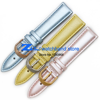 Watchbands עור אמיתי אופנה הכחול ורוד צמיד 16 מ