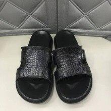 Мужские летние туфли из натуральной крокодиловой кожи; Новинка года; Дизайнерские летние мужские туфли; Цвет Черный; подкладка из коровьей кожи