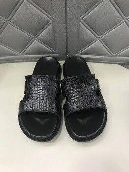 100% Genuine real crocodile skin leather men summer shoe 2019 new design summer men shoe black color cow skin inside cow lining