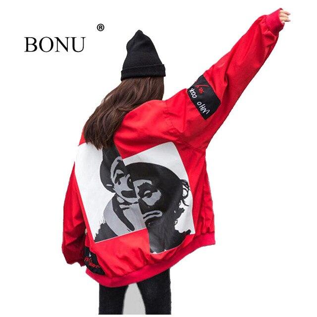 BONU nuevo arco otoño satén seda rojo Loose Coat Graffiti chaqueta femenina  niño amigo abrigo Harajuku 29c0c6ed6b2e