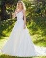 Dreagel Hot Sale Romantic V-neck Applique Court Train A-line Wedding Dress 2017 Luxurious Beaded Belt Bride Gown Robe de Mariage