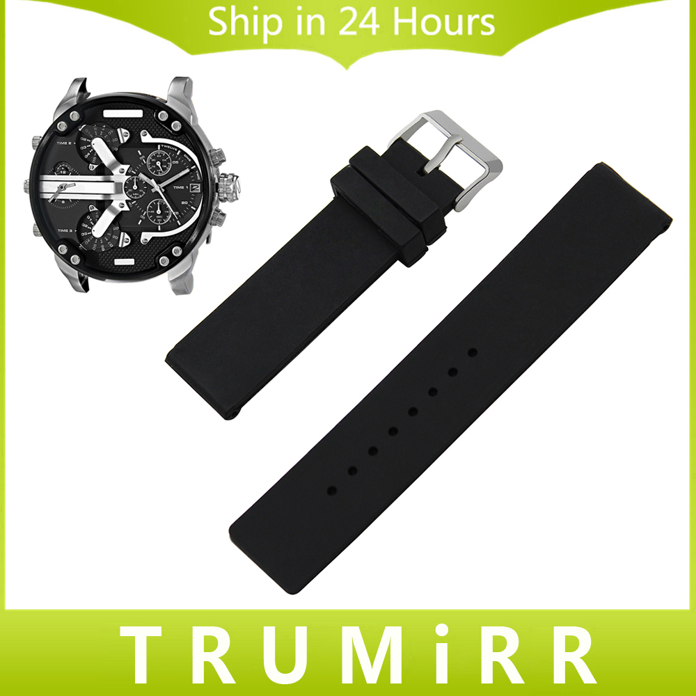 20mm 22mm 24mm Silicone Rubber Watch Band for Diesel Men Women Stainless Steel Pin Buckle Strap Wrist Belt Bracelet Black White 23mm 24mm silicone rubber watch band for tissot 1853 t035 t087 men stainless steel carved pattern buckle strap wrist bracelet