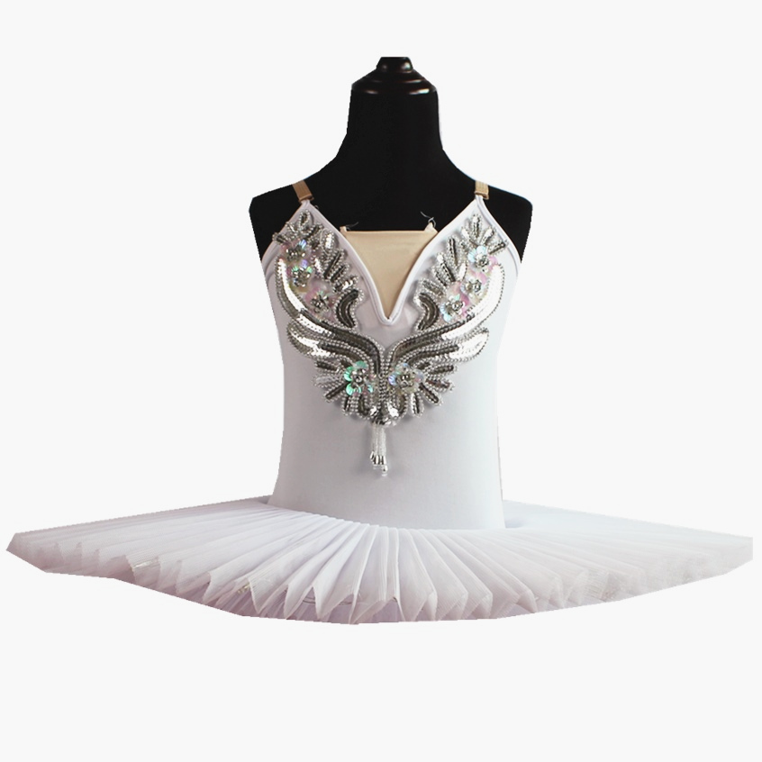 White Belly Dress For Kids Swan Lake Costume Ballet Tutu For Girls Dance Costume Stage Professional Sequined Flower Appliqued