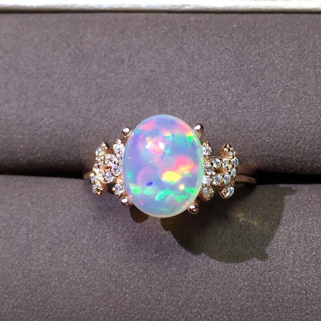 Natural Transparent opal gem Ring Natural gemstone ring S925 sterling silver trendy big Thick luxurious women girl party Jewelry