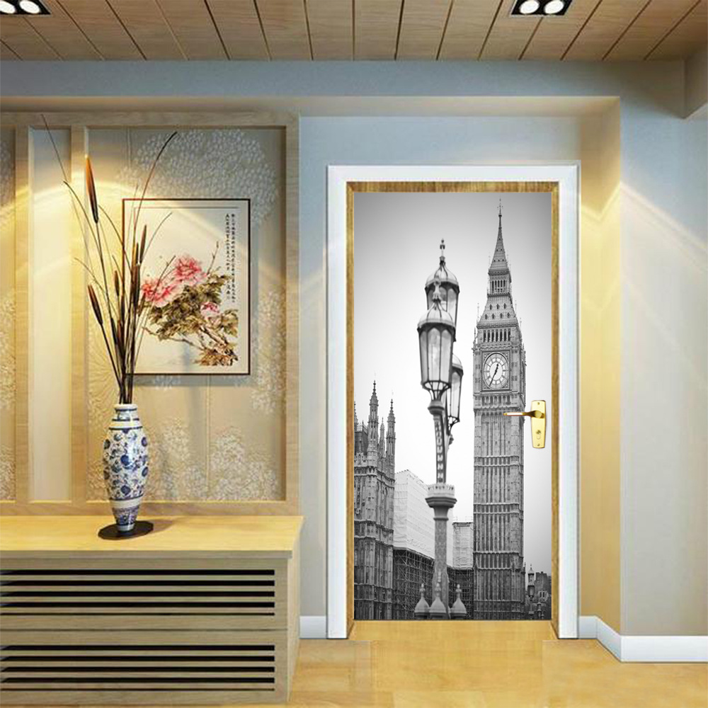 Image 3 - Black White Old Photo PVC Removable 3D City Vintage Scenic Fridge Sticker Wall Door Stickers Street Lamp Big Ben Clock Pattern-in Door Stickers from Home & Garden
