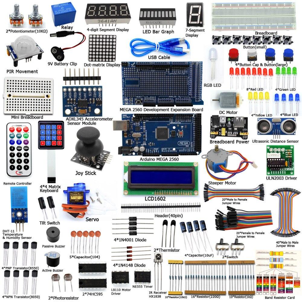 Adeept BRICOLAGE Électrique Ultime Starter Kit d'apprentissage pour Arduino MEGA 2560 avec Guide Moteur Freeshipping Livre diy diykit