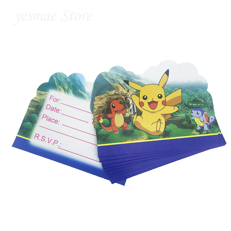 Us 1 41 5 Off 10pcs Kids Birthday Party Decoration Pikachu Pokemon Go Theme Birthday Invitation Card Baby Shower Decoration Baptism Gift In Cards