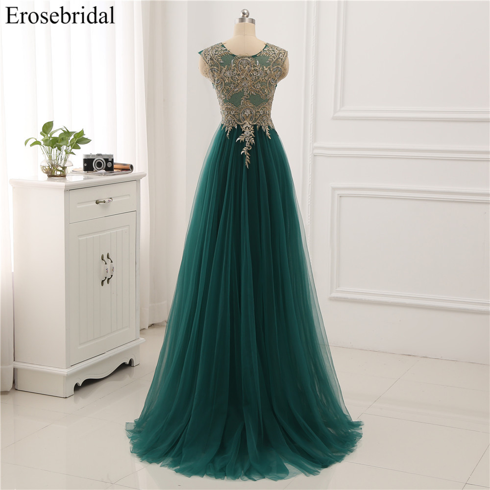 Image 2 - Erosebridal Gold Lace A line Evening Dress Draped Gown Formal Dress Women Elegant with Illuxion Back 7 Color Prom Party Wear-in Evening Dresses from Weddings & Events