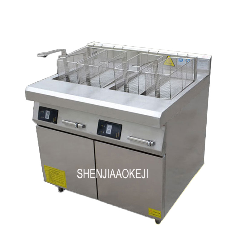 Electric Deep Fryer Double Cylinder Fryer Commercial Chicken Fryer Stainless Steel French Fries Electric Fryers AC-LSZL-2