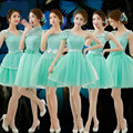 2016 Light Green Bridesmaid Dress Tulle Juniper One Shoulder Cute Vestidos Para Festa De Casamento Short Brides Maids Dresses Mi