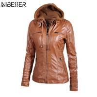 2017 Plus Size Hooded Faux Leather Jacket Women Autumn Winter Motorcycle Jacket Long Sleeve Hat Detachable