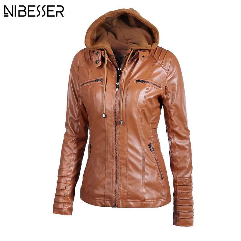 2017 Plus Size Hooded Faux Leather Jacket Women Autumn ...