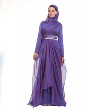Elegant Muslim Long Sleeve Evening Dresses Party Evening Elegant Arabic Evening Gowns Maxi Modest Sequined With Wrap Hijab