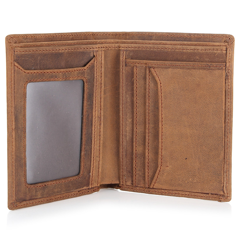 Vintage Crazy Horse Genuine Leather Men Wallets Brown Cow Leather Short Male Wallet Purse for Men Casual Card Holders #M9021 dante brand 2016 retro brown purse wallet men genuine leather vintage wallet organizer card holders dollar price for gift