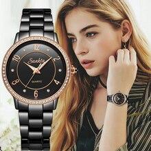 SunKta יוקרה עלה זהב שחור קרמיקה עמיד למים שעונים אישה קלאסי סדרת גבירותיי שעון למעלה איכות גבירותיי ריינסטון שעון