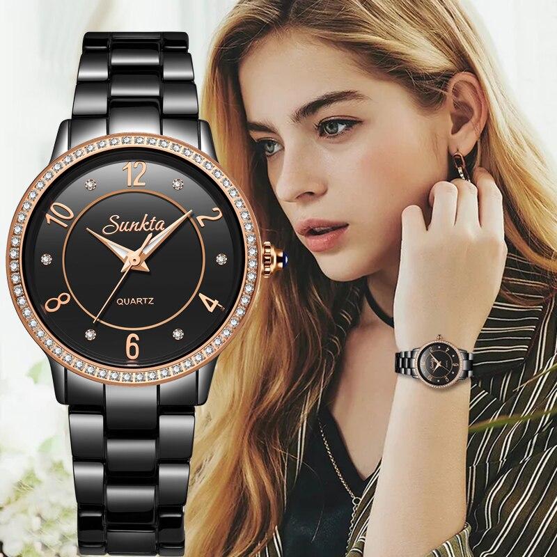 Sunkta luxo rosa ouro preto cerâmica relógios à prova dwoman água mulher série clássica senhoras relógio de alta qualidade senhoras strass