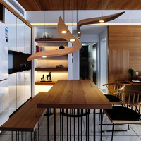 Solid Wood Modern pendant light Chinese Japanese Nordic creative minimalist living room dining 3Heads wooden pendant lamp