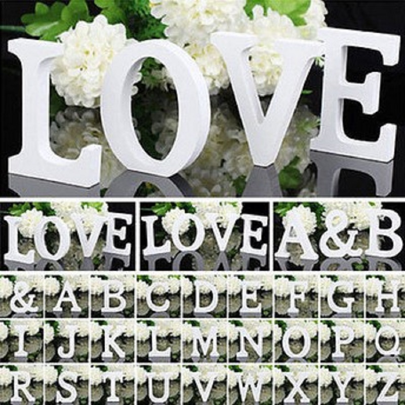 1pc 8cm White Wooden Letters Home Decoration 26 Wood English Alphabet Wall Hanging Wedding Birthday Party Prop DIY Handcrafts