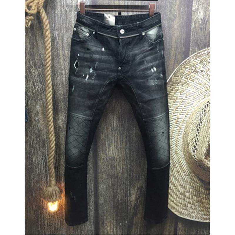 ФОТО Fashion Brand Stripe Button Men Jeans Men New Frayed Men Straight Slim Denim Pants Biker Diesel Leisure Washed Pants Jeans