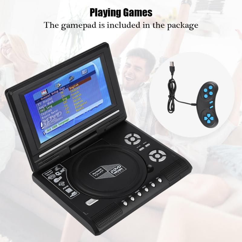 7 8inch Portable TV DVD Player Swivel Screen Rechargeable Digital TV Car Charger Gamepad Mini Car