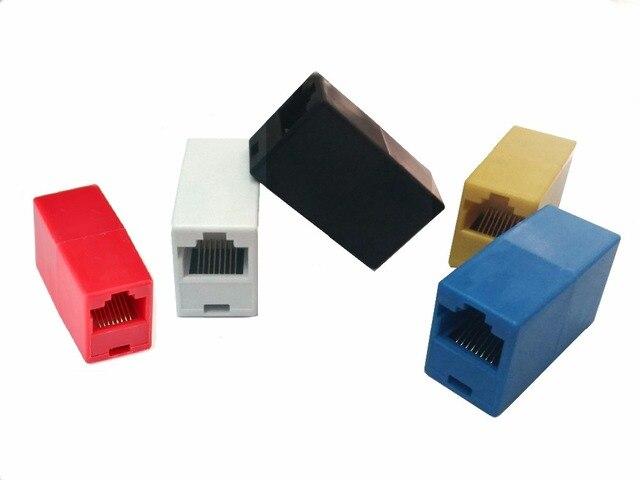 5Pcs/Lot 5colors RJ45 CAT5 CAT5E Ethernet Connector female to female Lan Cable Join Extender