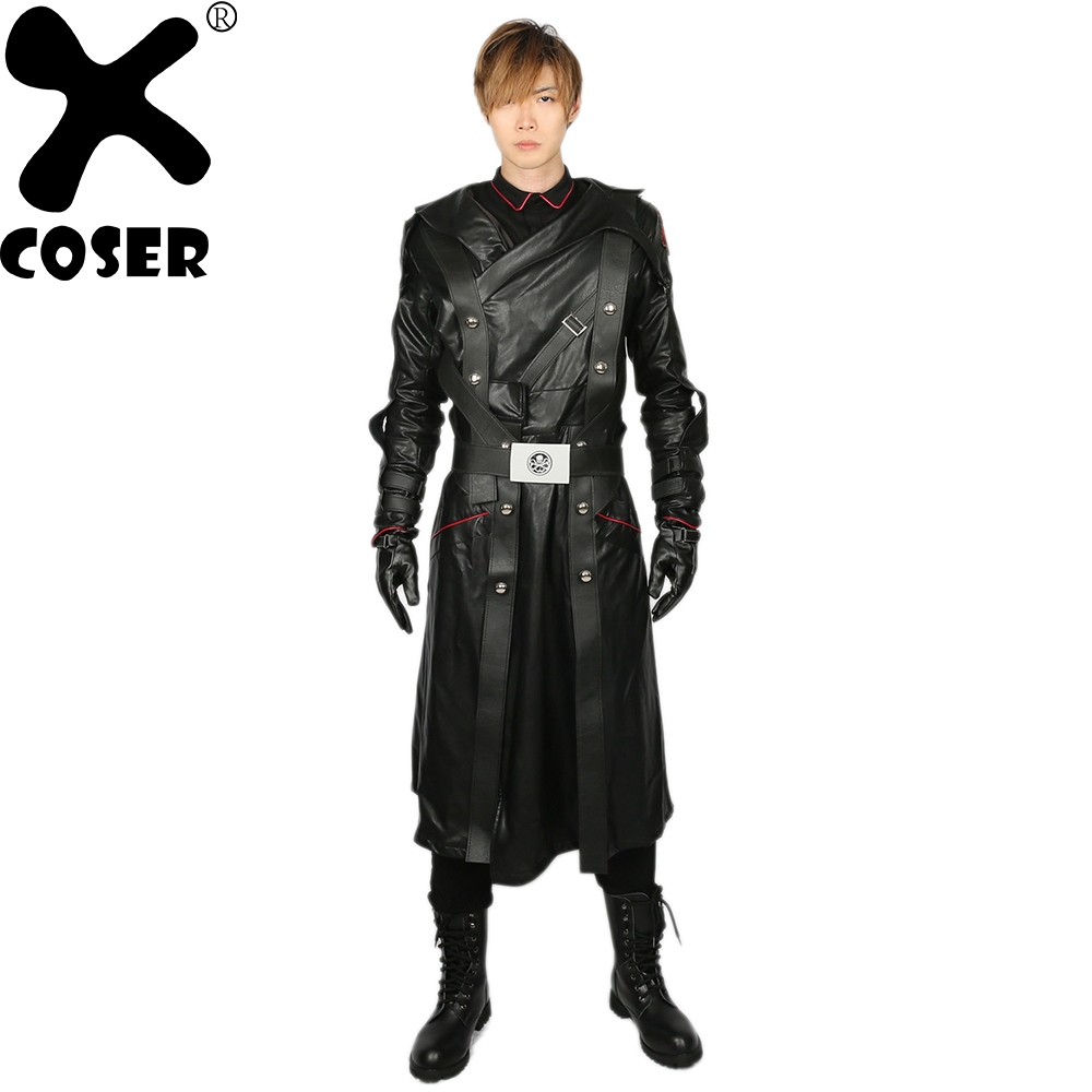 XCOSER Captain America Red Skull Costume Men's Cool Movie Cosplay Costumes Outfit Male Black PU Leather Cotton Cosplay Sets
