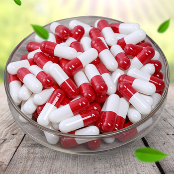 1000pcs/lot Free shipping red white gelatin empty capsules, hollow gelatin capsules, empty pill capsule,medicine capsule 0#