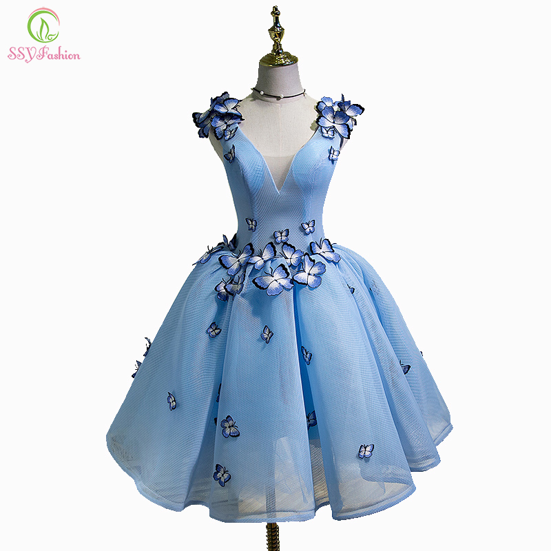 SSYFashion New Sexy Cocktail Dress The Bride Banquet Sky Blue V-neck Sleeveless Backless Butterfly Party Ball Gown Custom Made cocktail dress