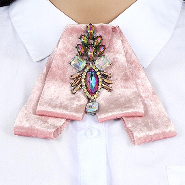 ZHINI Роскошные лук броши для Для женщин платье-рубашка ткань бархат бантом галстук корсаж Broche горный хрусталь брошь Пен Свадебные украшения