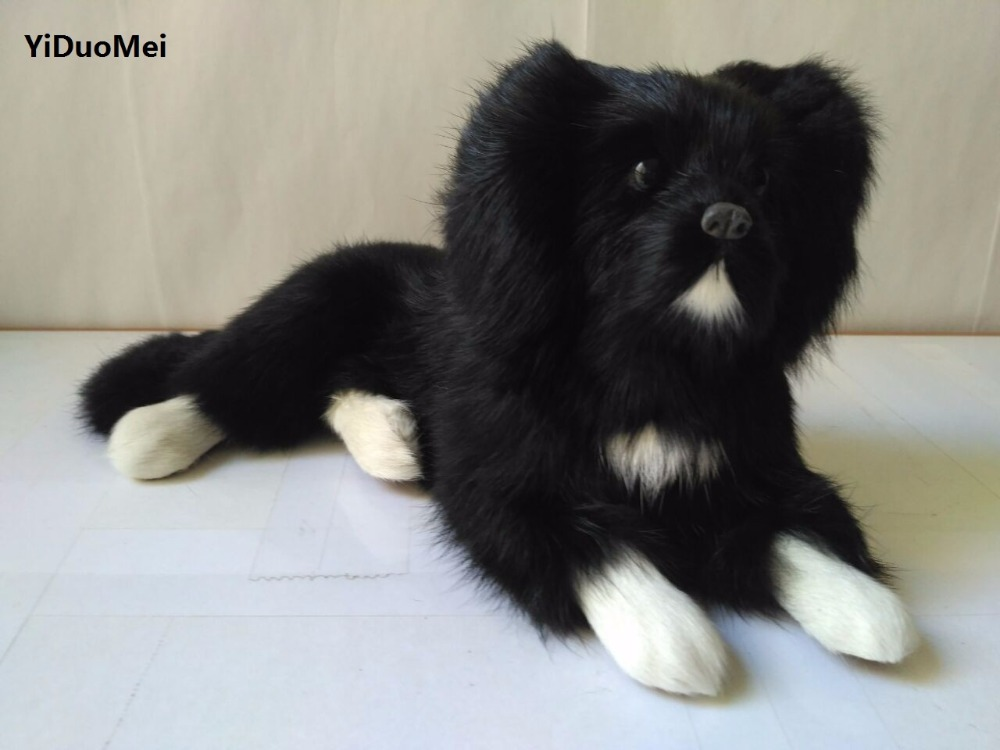 black simulation lying dog toy plastic&furs cute dog gift about 27x11x14cm 0931 new simulation sleeping dog plastic&fur black&white dog model gift about 36x25x14cm a81