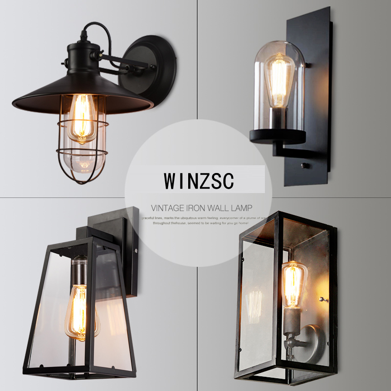 Fashion novelty retro aisle wall lights room bedside industrial wind single head lamp waterproof balcony iron lamp FG250