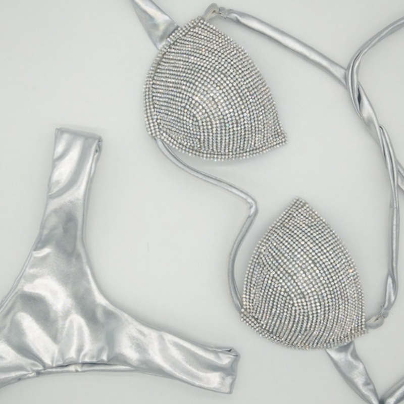 Femmes maillot de bain strass diamant maillot de bain 2019 licou bikini luxe cristal maillots de bain haute coupe Bandage bling biquini femme